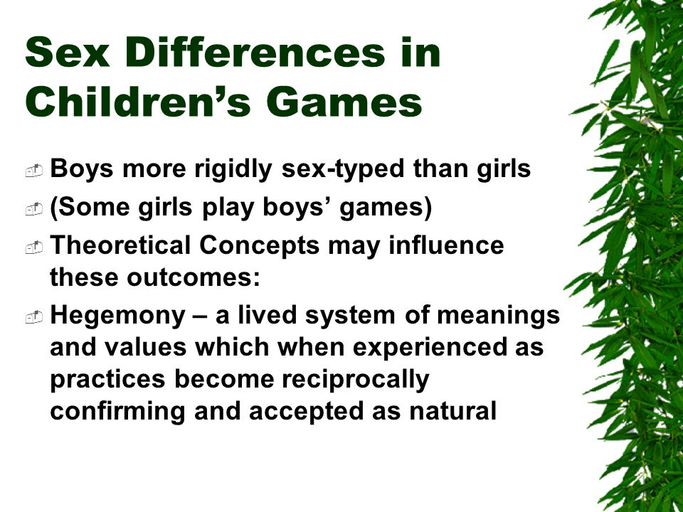 Sex Differences in Children's Games