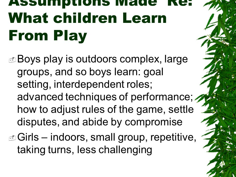 Assumptions Made Re: What children Learn From Play