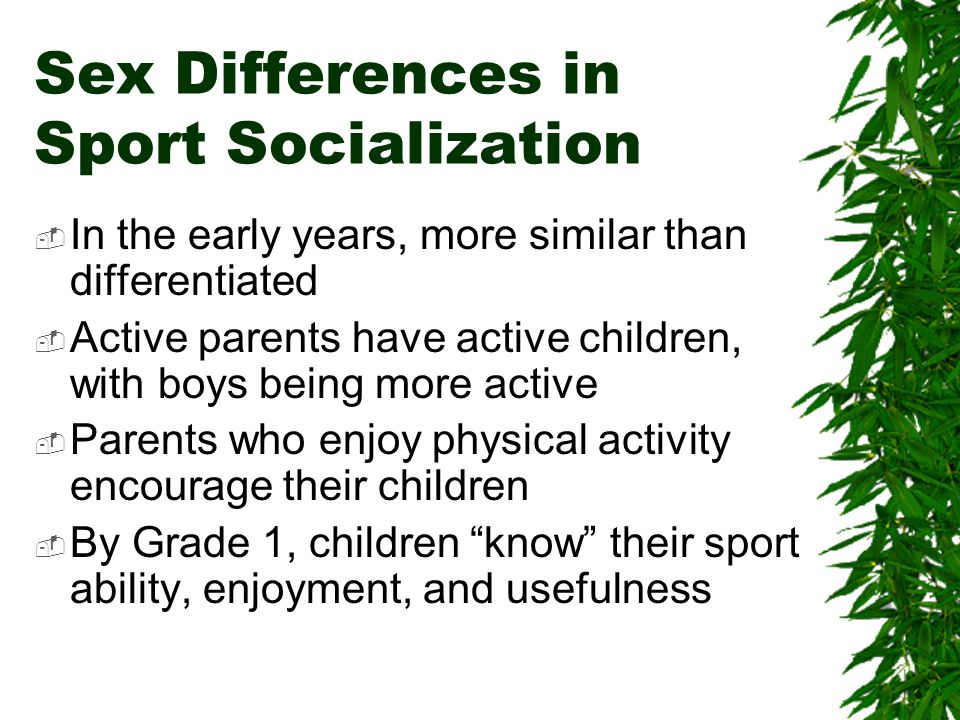 Sex Differences in Sport Socialization