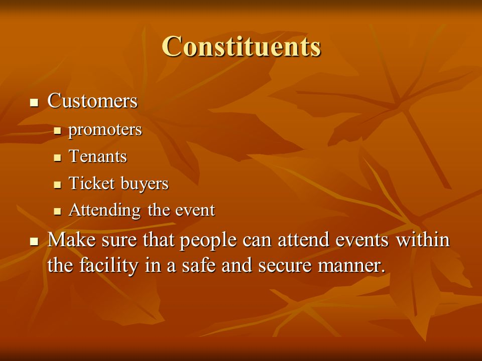 Constituents Customers