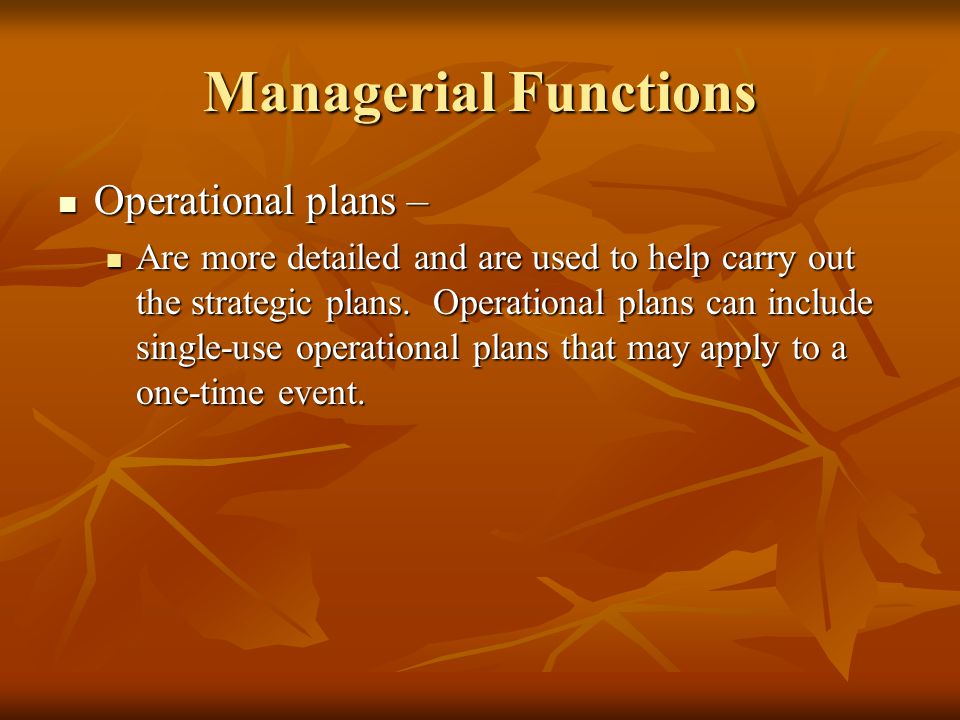 Managerial Functions Operational plans –