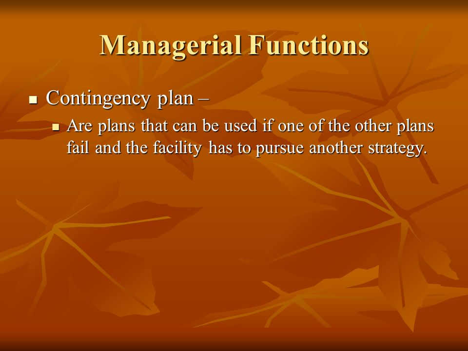Managerial Functions Contingency plan –