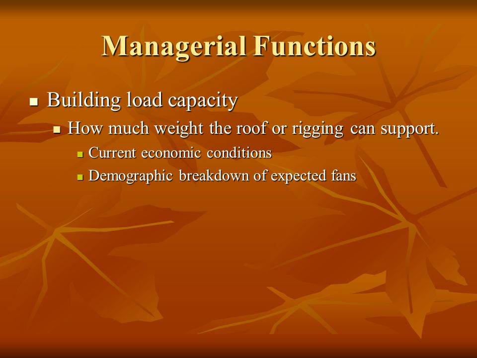 Managerial Functions Building load capacity