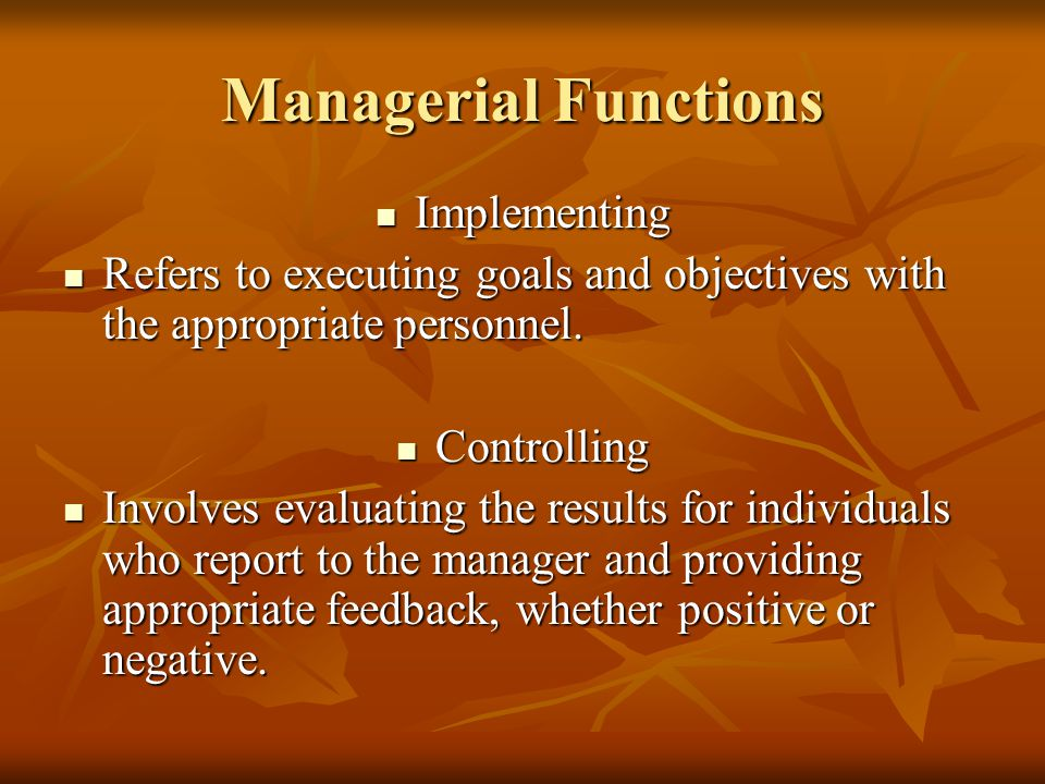 Managerial Functions Implementing