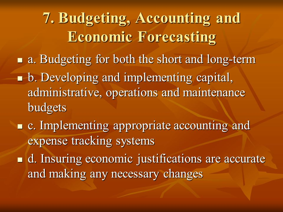 7. Budgeting, Accounting and Economic Forecasting