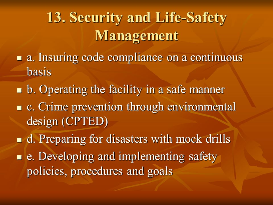 13. Security and Life-Safety Management