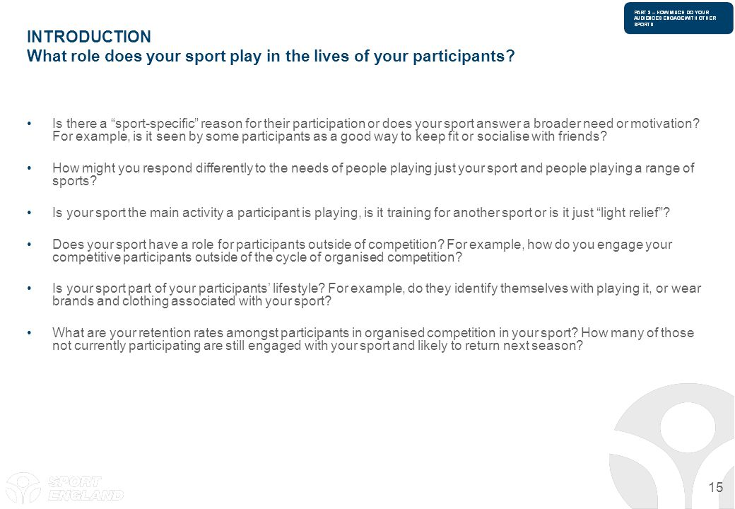 INTRODUCTION What role does your sport play in the lives of your participants