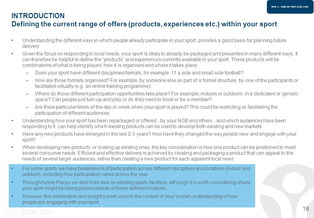 INTRODUCTION Defining the current range of offers (products, experiences etc.) within your sport