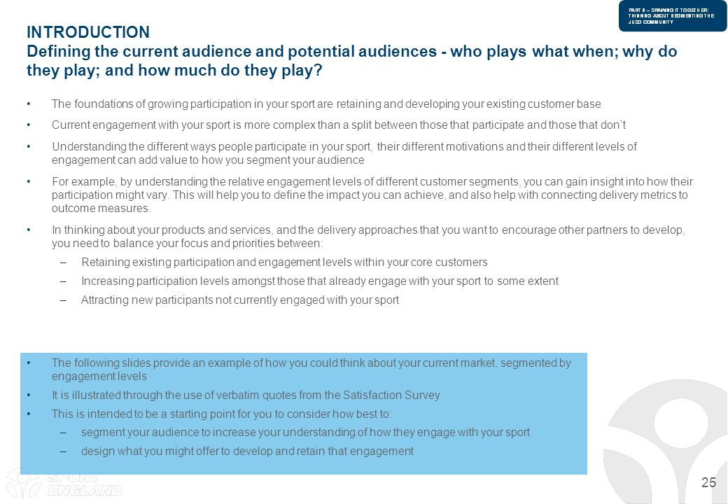 INTRODUCTION Defining the current audience and potential audiences - who plays what when; why do they play; and how much do they play