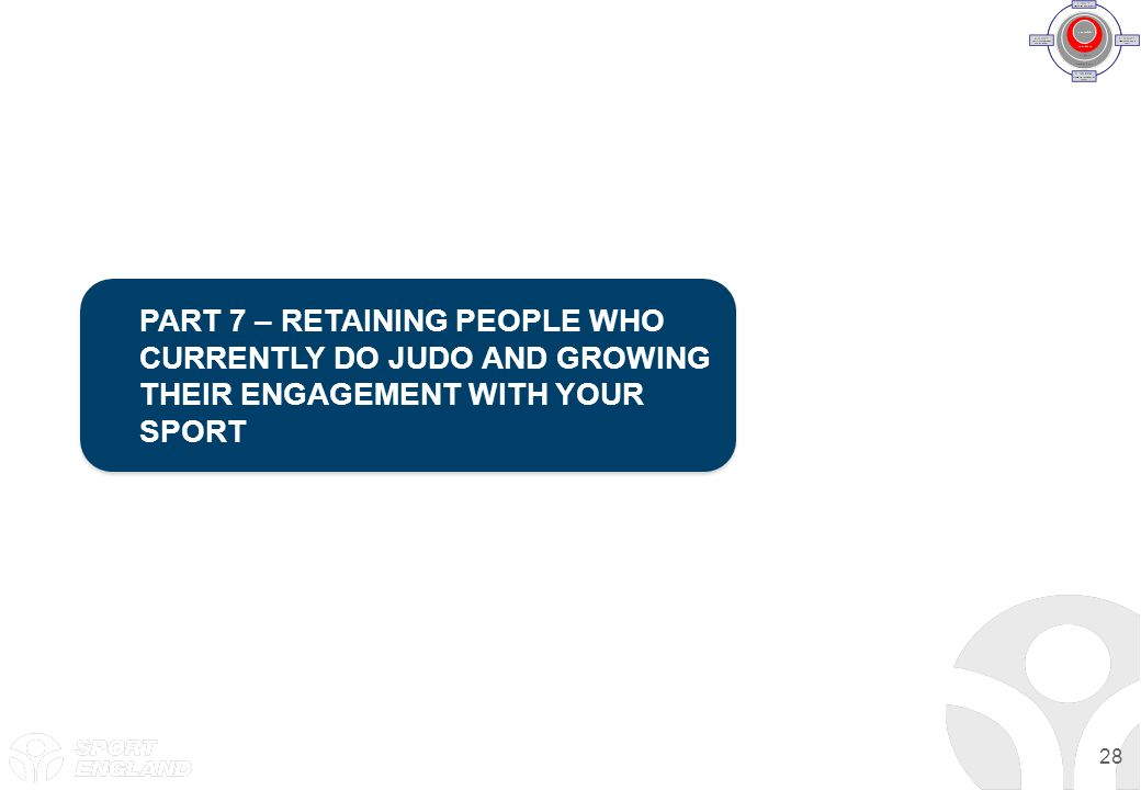 PART 7 – RETAINING PEOPLE WHO CURRENTLY DO JUDO AND GROWING THEIR ENGAGEMENT WITH YOUR SPORT