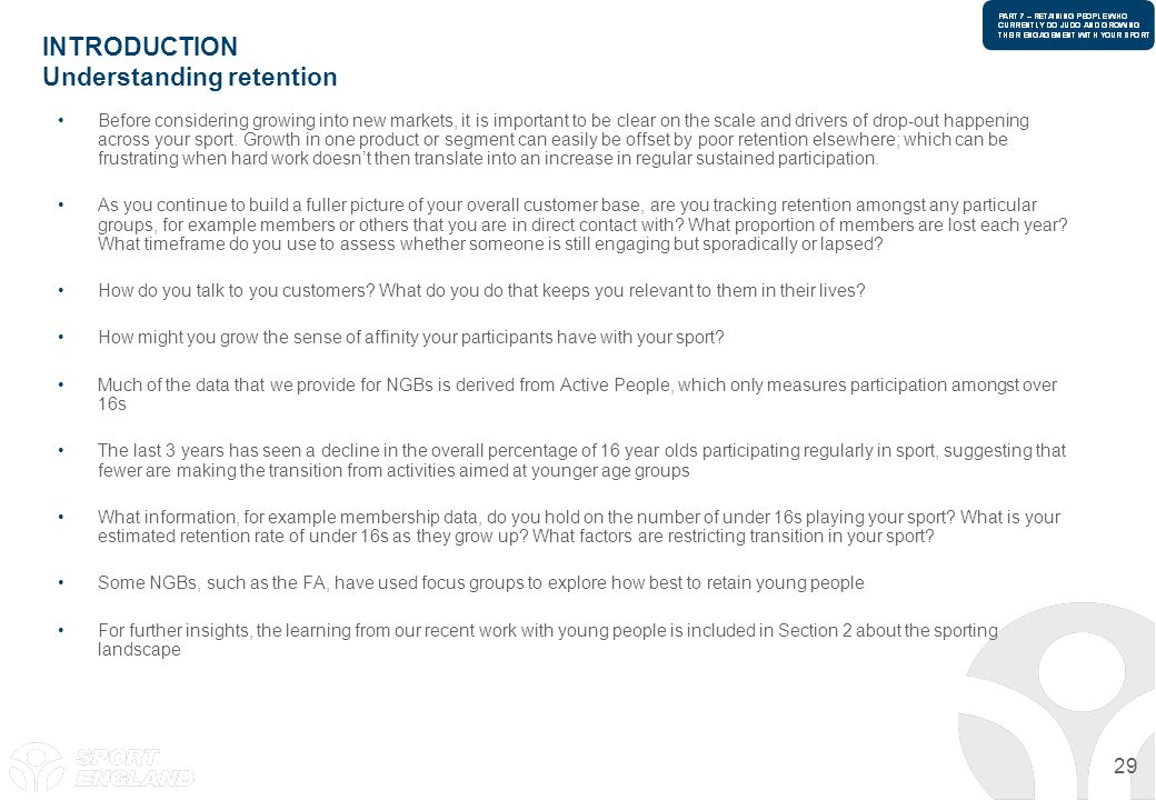 INTRODUCTION Understanding retention