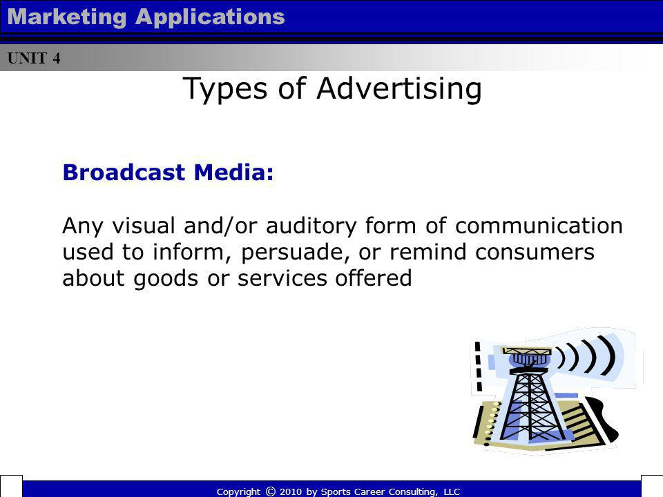 Types of Advertising Marketing Applications Broadcast Media: