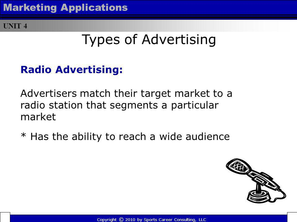 Types of Advertising Marketing Applications Radio Advertising: