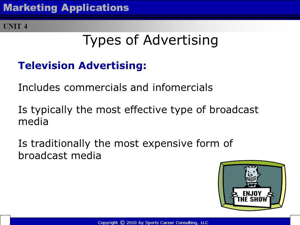 Types of Advertising Marketing Applications Television Advertising: