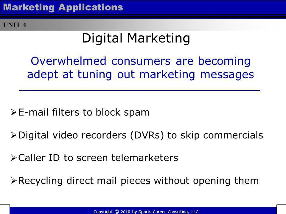 UNIT 4 Marketing Applications. Digital Marketing. Overwhelmed consumers are becoming adept at tuning out marketing messages.