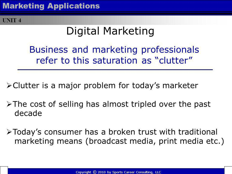 UNIT 4 Marketing Applications. Digital Marketing. Business and marketing professionals refer to this saturation as clutter