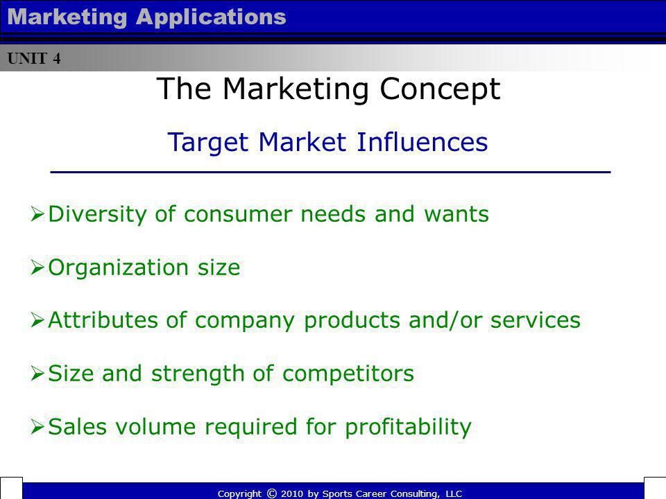 The Marketing Concept Target Market Influences Marketing Applications