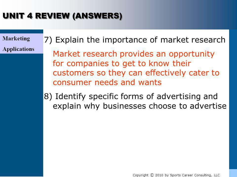7) Explain the importance of market research