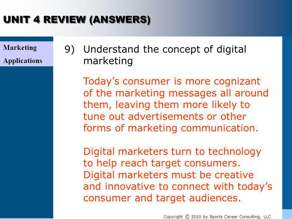 9) Understand the concept of digital marketing