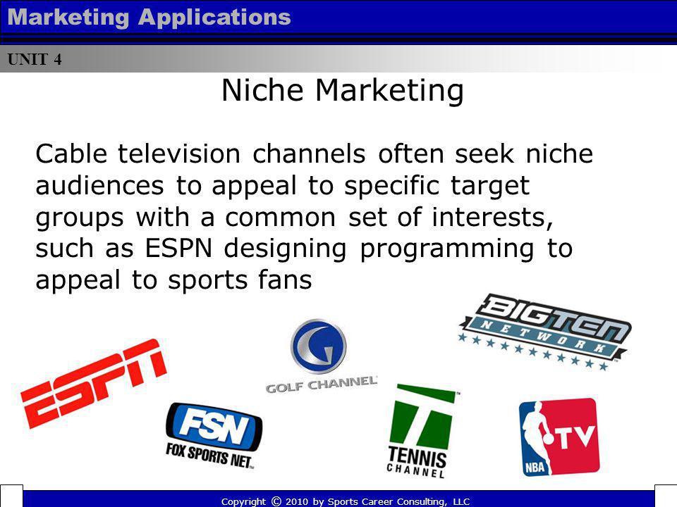 UNIT 4 Marketing Applications. Niche Marketing.