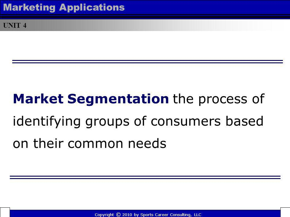 Market Segmentation the process of