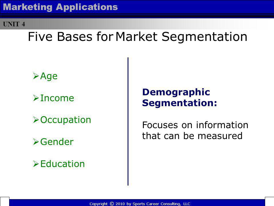Five Bases for Market Segmentation