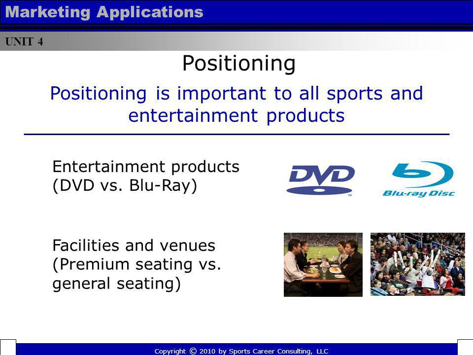 Positioning is important to all sports and entertainment products