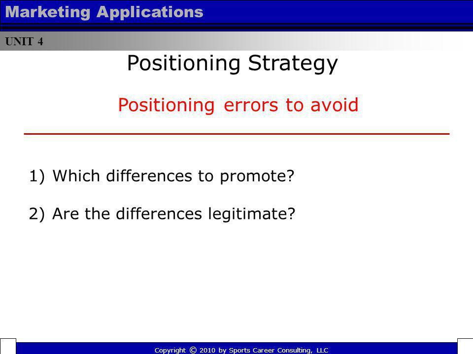 Positioning errors to avoid