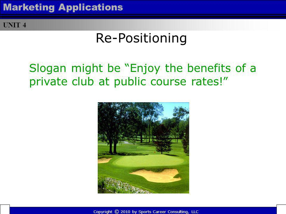 UNIT 4 Marketing Applications. Re-Positioning. Slogan might be Enjoy the benefits of a private club at public course rates!