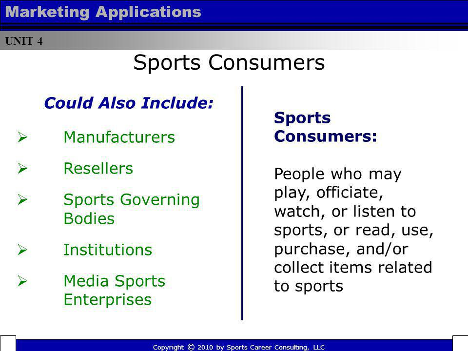 Sports Consumers Marketing Applications Could Also Include: