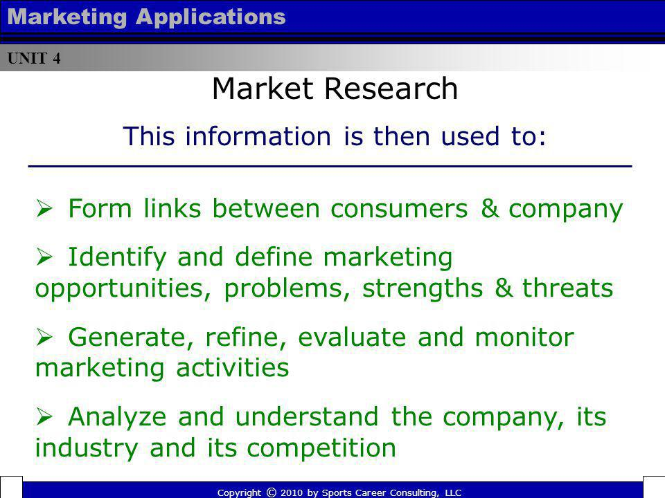 Market Research This information is then used to: