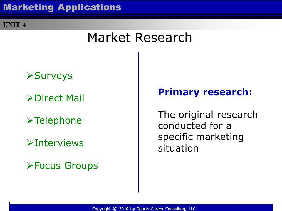 Market Research Marketing Applications Surveys Direct Mail
