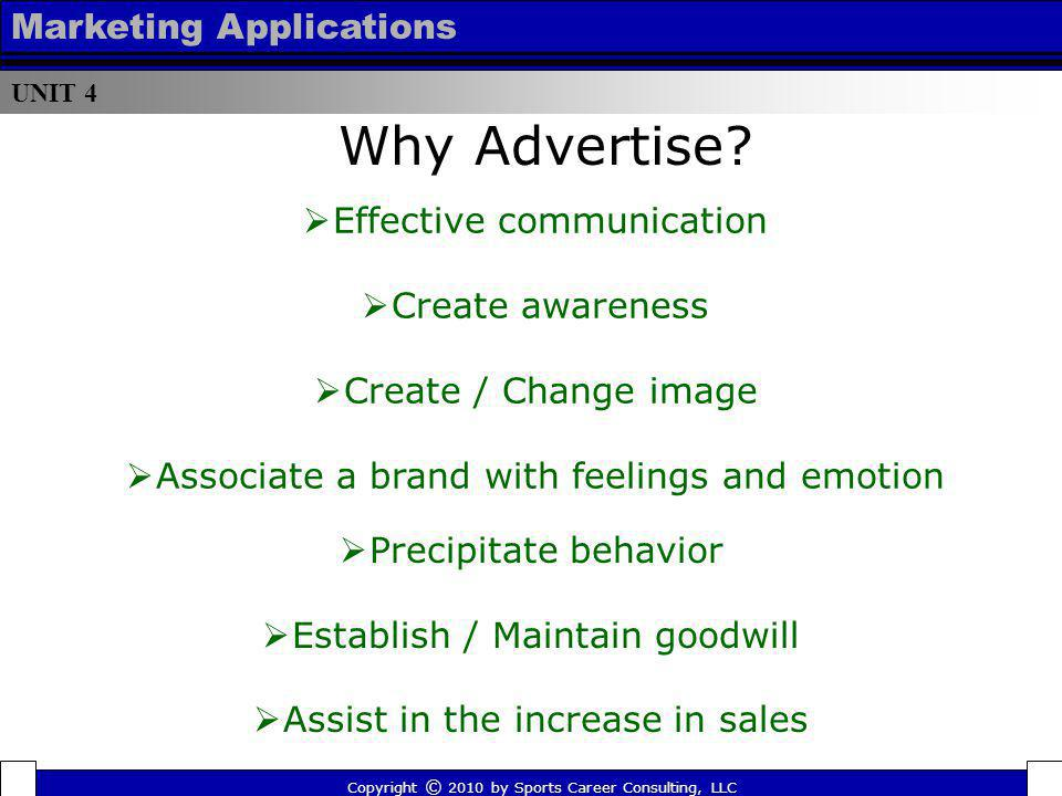 Why Advertise Marketing Applications Effective communication
