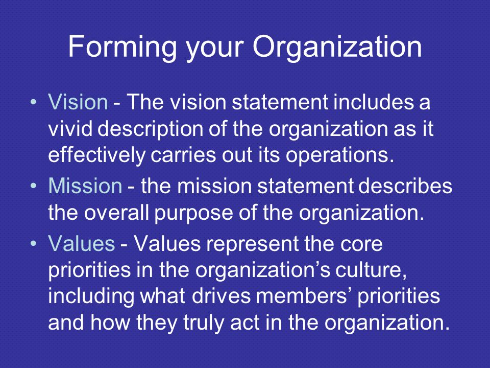 Forming your Organization