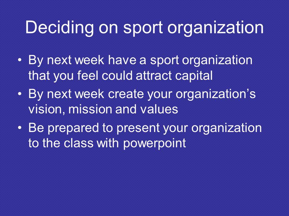 Deciding on sport organization