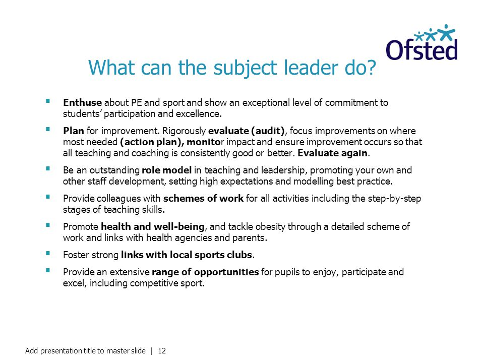 What can the subject leader do
