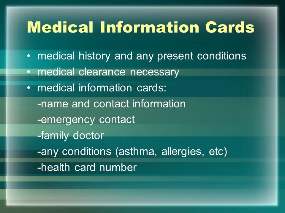 Medical Information Cards