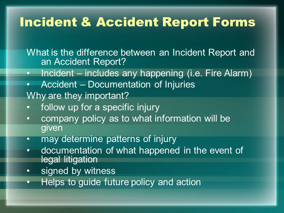 Incident & Accident Report Forms