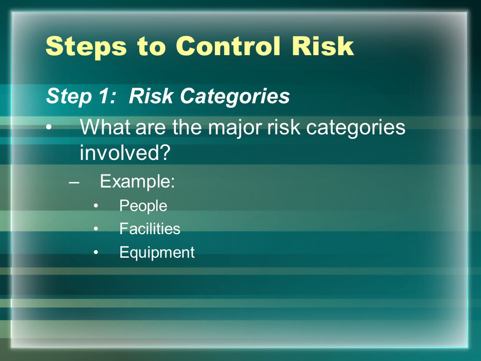 Steps to Control Risk Step 1: Risk Categories