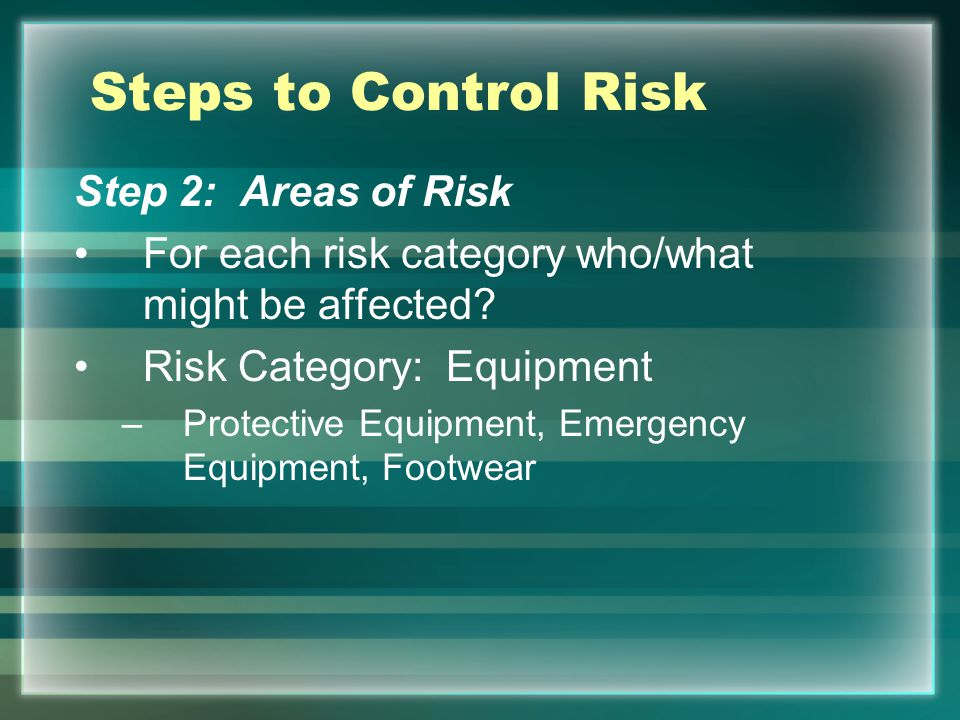 Steps to Control Risk Step 2: Areas of Risk