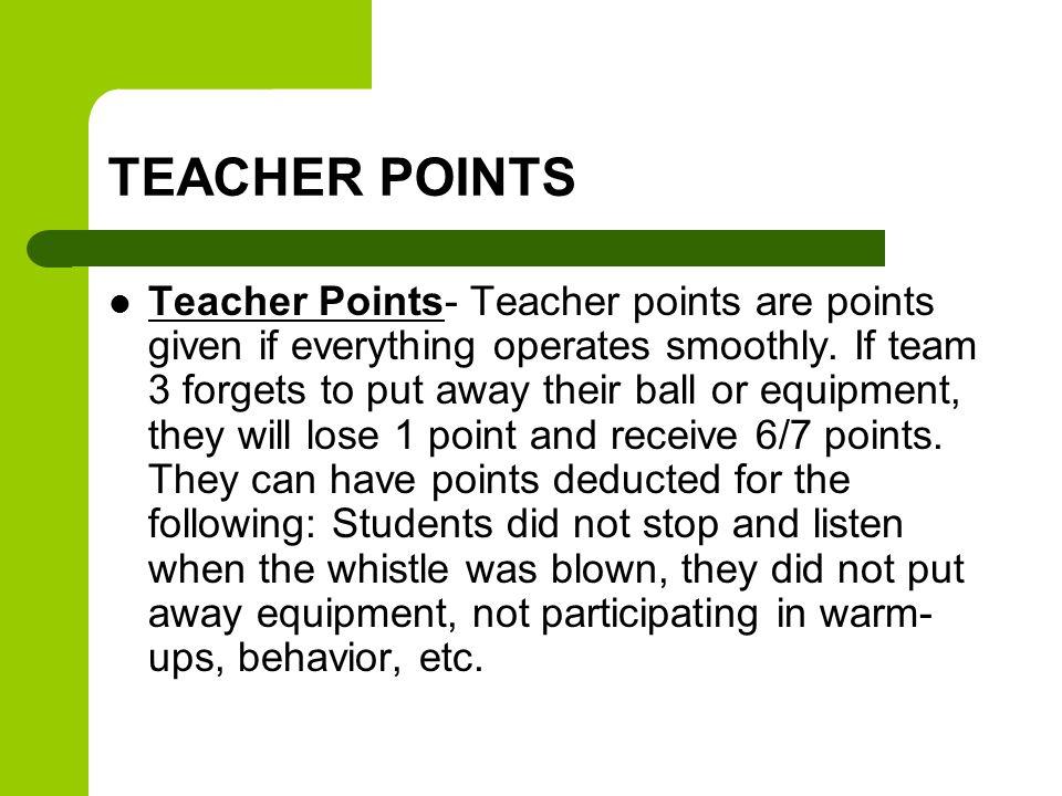 TEACHER POINTS