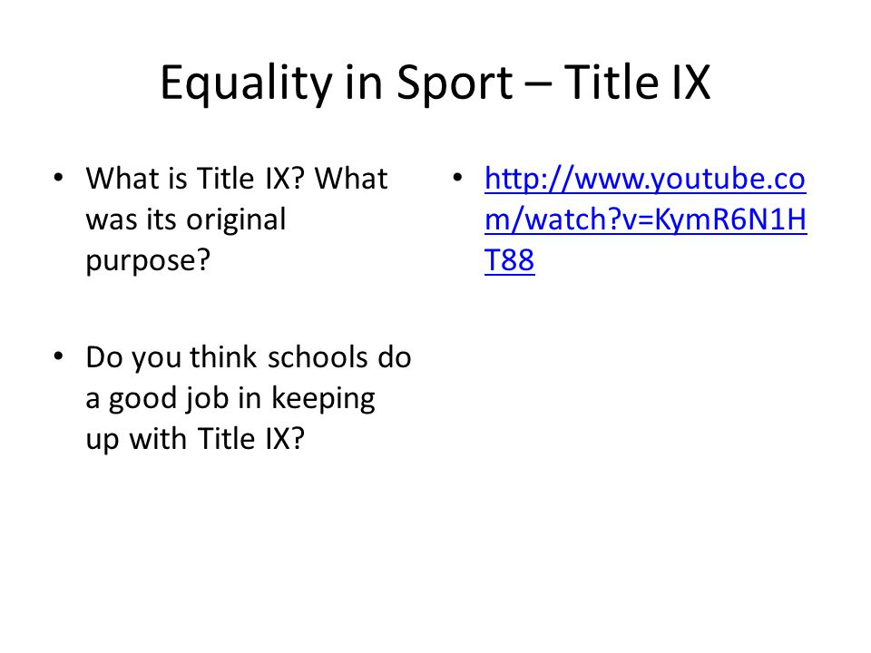 Equality in Sport – Title IX