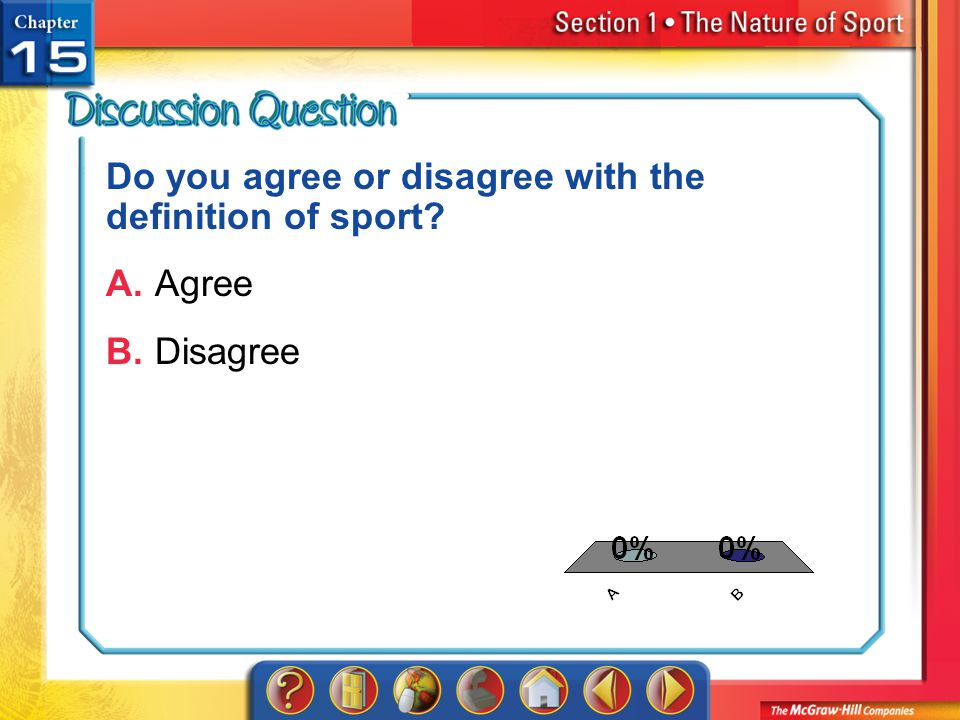 Do you agree or disagree with the definition of sport A. Agree