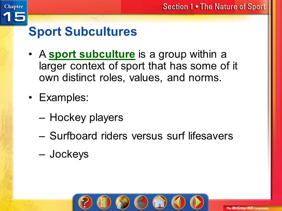Sport Subcultures A sport subculture is a group within a larger context of sport that has some of it own distinct roles, values, and norms.