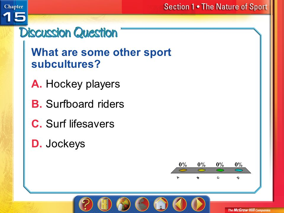 What are some other sport subcultures A. Hockey players