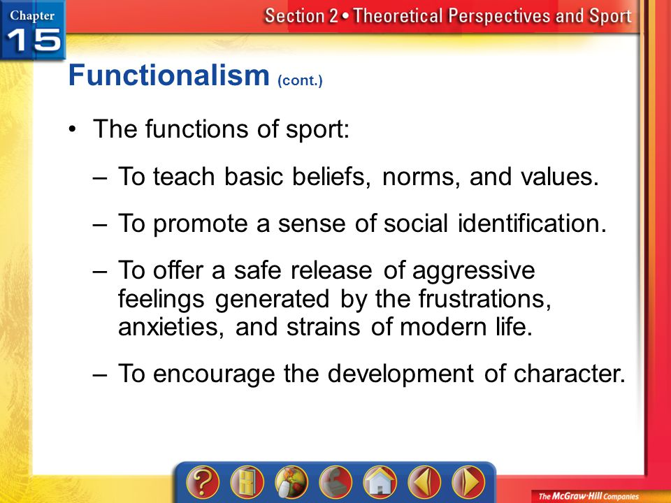 Functionalism (cont.) The functions of sport: