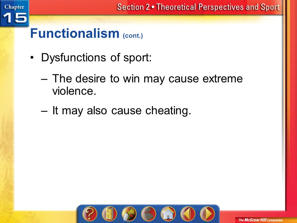 Functionalism (cont.) Dysfunctions of sport: