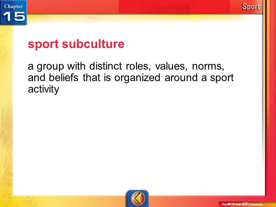 sport subculture a group with distinct roles, values, norms, and beliefs that is organized around a sport activity.