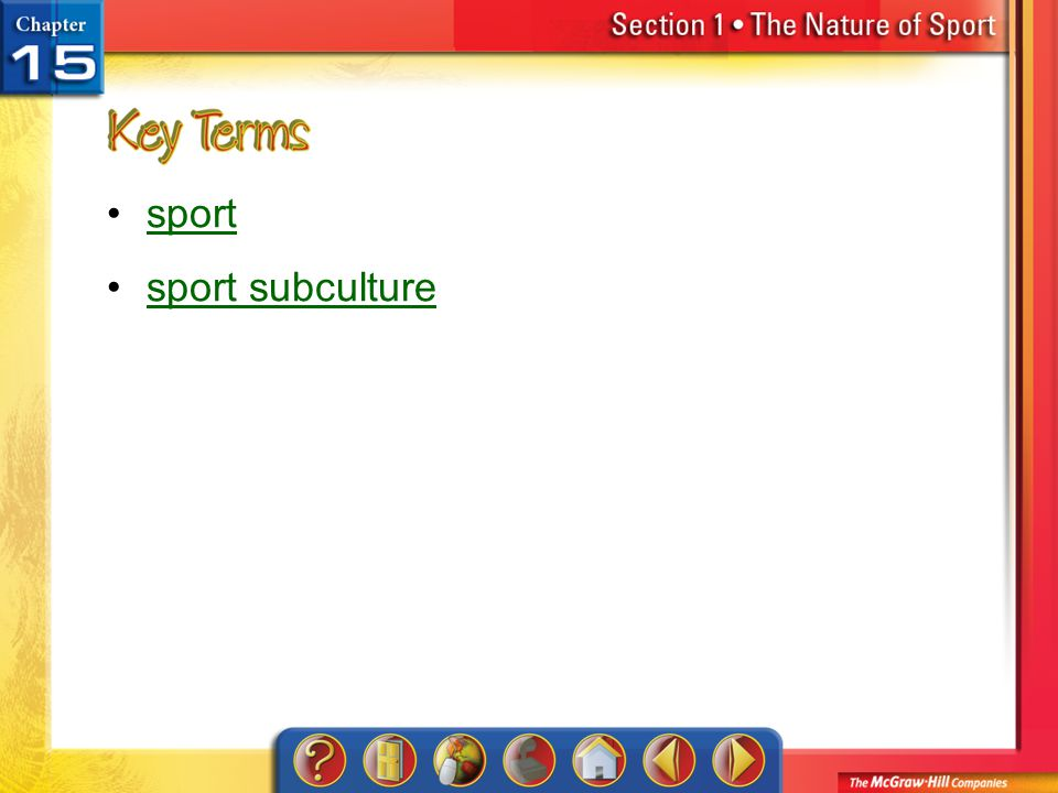 sport sport subculture Section 1-Key Terms