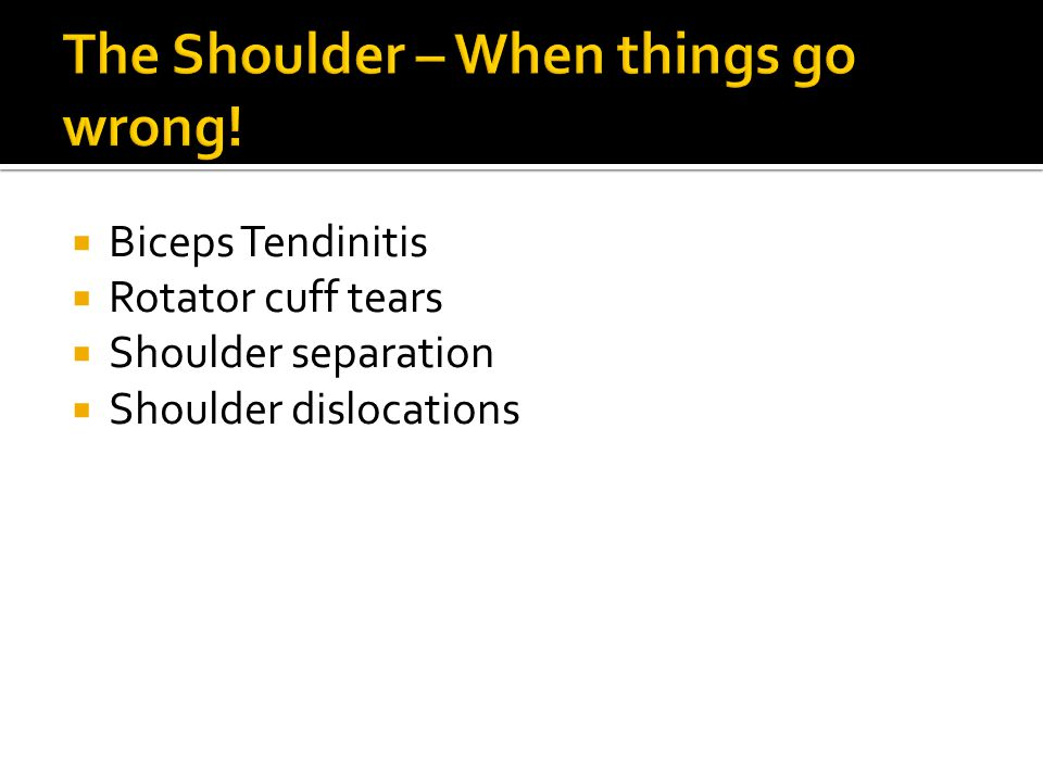 The Shoulder – When things go wrong!